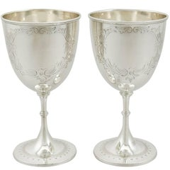 Victorian 1880s Pair of Sterling Silver Goblets