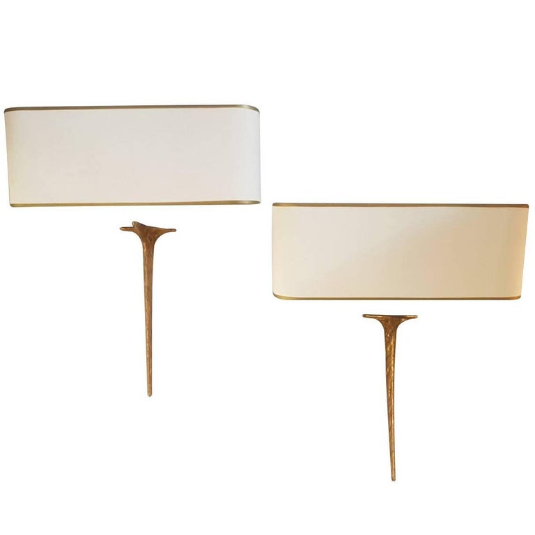 "Felix Agostini 1960s Pair of Gilded Bronze ""Squale"" Sconces"