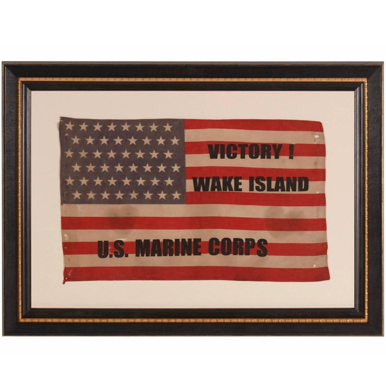 """Victory at Wake Island U.S Marine Corps"" Overprinted Parade Flag For Sale"
