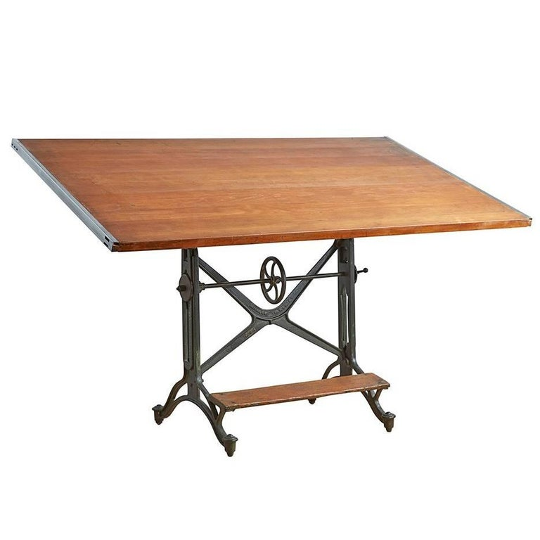 Large Keuffel & Esser Drafting Table with Cast Iron Base, circa 1900