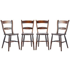 Set of Four Carved Dining Chairs with Turned Legs, circa 1880s