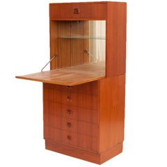 Midcentury Danish Teak Bar Cabinet with Five Drawers