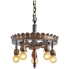 Impressive Five-Light Chandelier with Acanthus Ring, circa 1920s