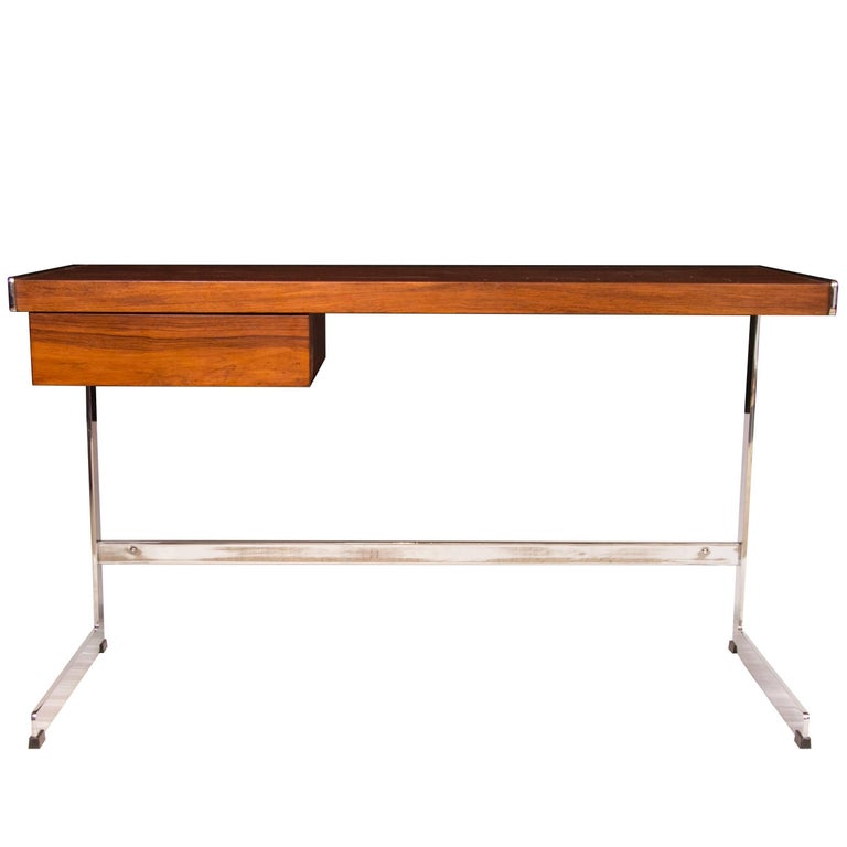 Midcentury Merrow Associates Rosewood and Chrome Desk Designed by David Folker