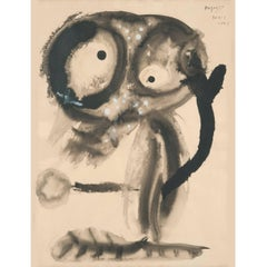 1948 French Abstract Figure Watercolor on Paper