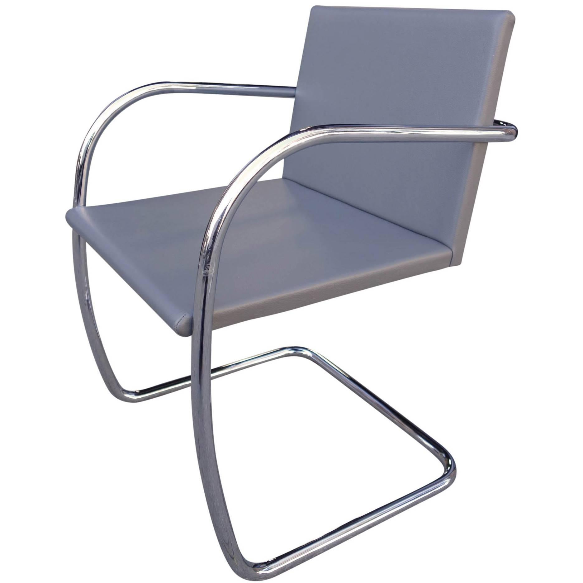Midcentury Brno Chairs in Leather by Mies van der Rohe for Knoll