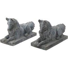 Pair of 19th Century Zinc Dog Sculptures
