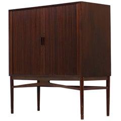 1960s Scandinavian Modern Mahogany Highboard Bar Cabinet, Tambour Doors Sidebord