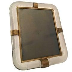 Italian Murano Barovier e Toso Glass and Brass Picture Frame