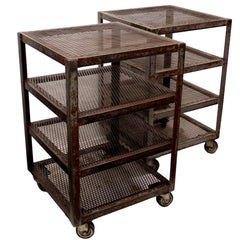 Pair of Matching Industrial Metal Factory Cart End Side Tables