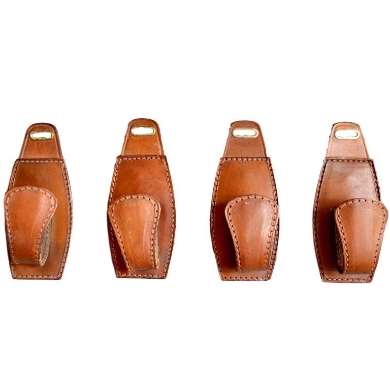 Set of Four Adnet Style Saddle Leather Hooks