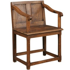 English 1780s Georgian Panel Back Armchair with Planked Seat and Scrolled Arms