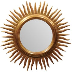 Vintage Italian Sunburst Mirror with Wavy Rays from the Mid-20th Century