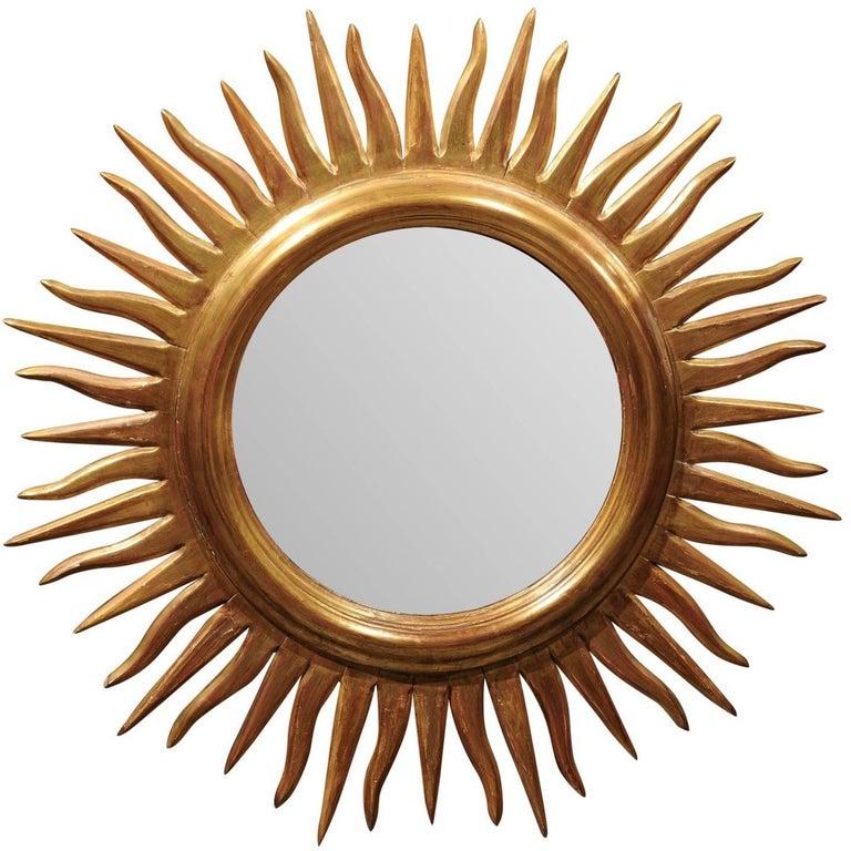 Vintage Italian Sunburst Mirror with Wavy Rays from the Mid-20th Century