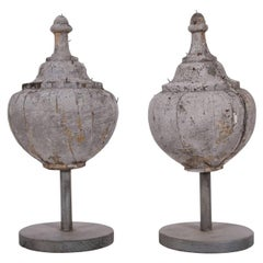 Pair of Antique Carved and Painted Wood Finials
