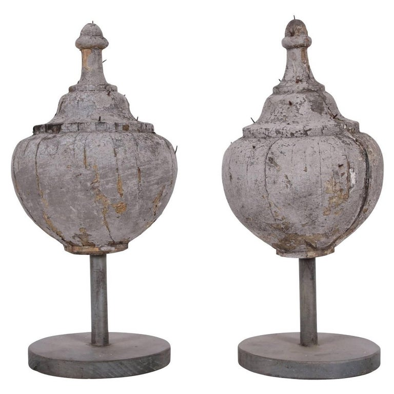 Pair of Antique Carved and Painted Wood Finials For Sale