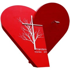 Red Heart in Steel & Bronze Sculpture-The Largest Heart of the World by F.Crespo