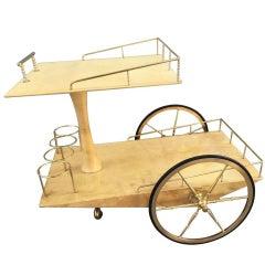 Bar Cart by Aldo Tura Goatskin and Brass
