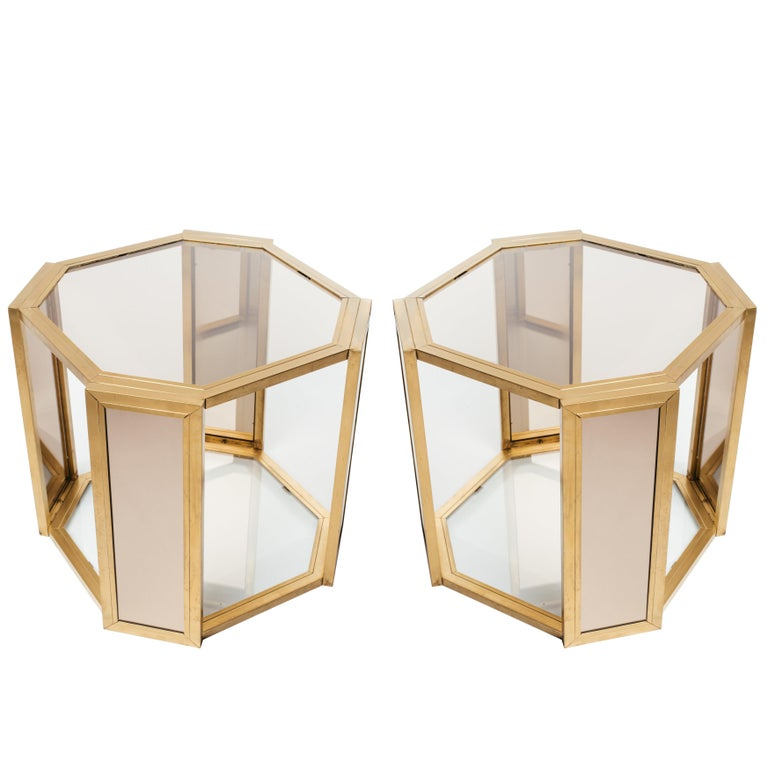 Pair of Hollywood Regency Hexagon End Tables in Brass and Smoked Glass For Sale