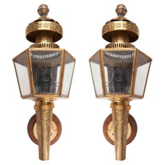 Pair of Embossed Brass Carriage Lights, Early 1900s