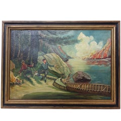 """Folk Art 1930s """"Moose in Camp"""" Painting in the Style of Philip R. Goodwin"""