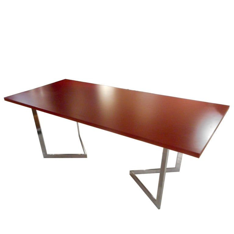 1970s Françoise Sée Trestles Table Desk with a Red Lacquer Top