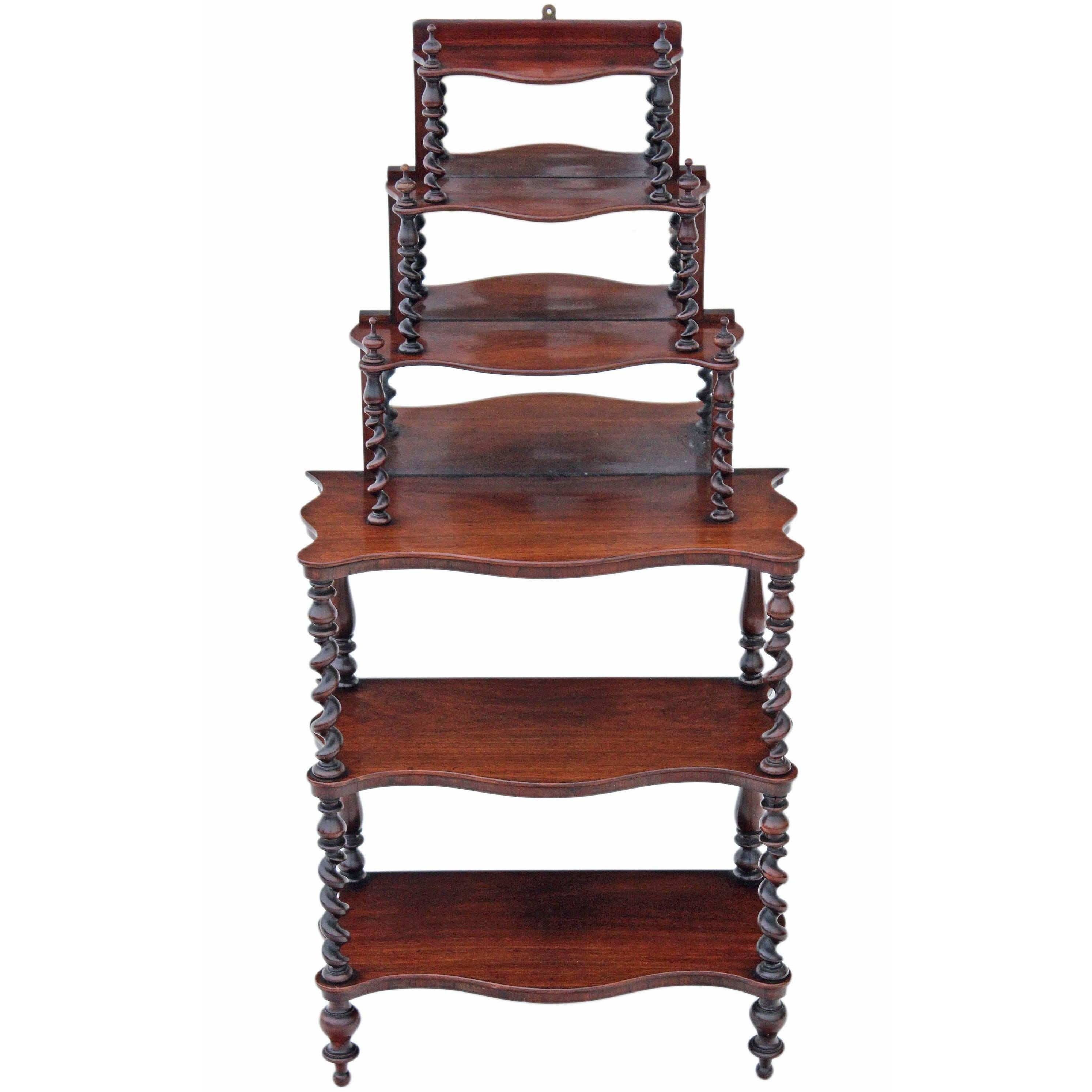 antique victorian 19th century rosewood open bookcase whatnot shelves display