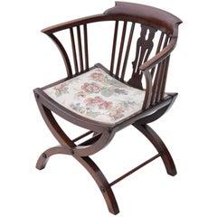 Antique Victorian Mahogany x Frame Corner Chair Tub Side Hall Bedroom