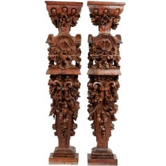 18th Century Pair of Wooden Estipites