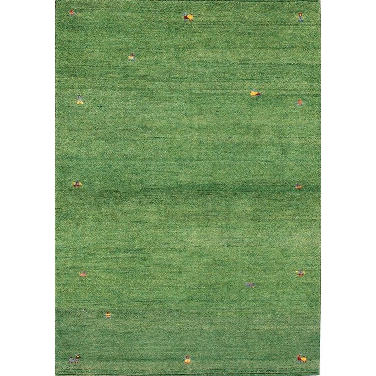 21st Century Small Green Persian Gabbeh Carpet