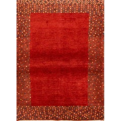 21st Century Small Red Persian Gabbeh Geometric Rug
