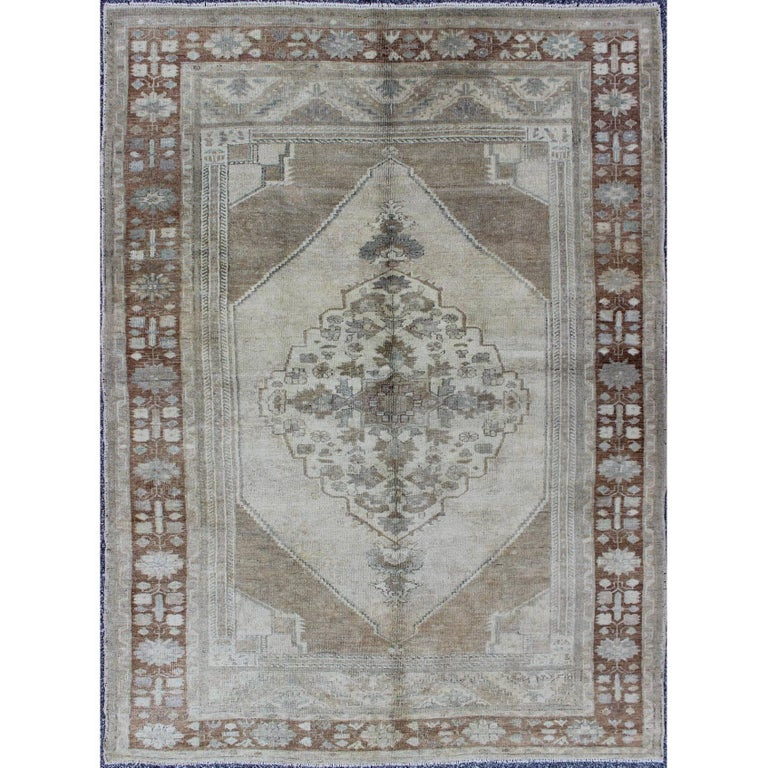 Vintage Turkish Oushak Rug with Layered Floral Medallion in Ivory, Gray, Brown