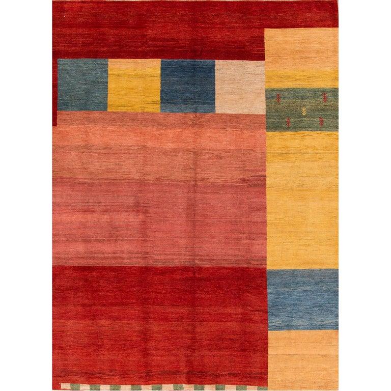 Large 21st Century Multicolored Geometric Persian Gabbeh Carpet