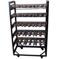 1940s Wooden Shoemakers or Cobbler Converted Wine Bottle Storage Rack