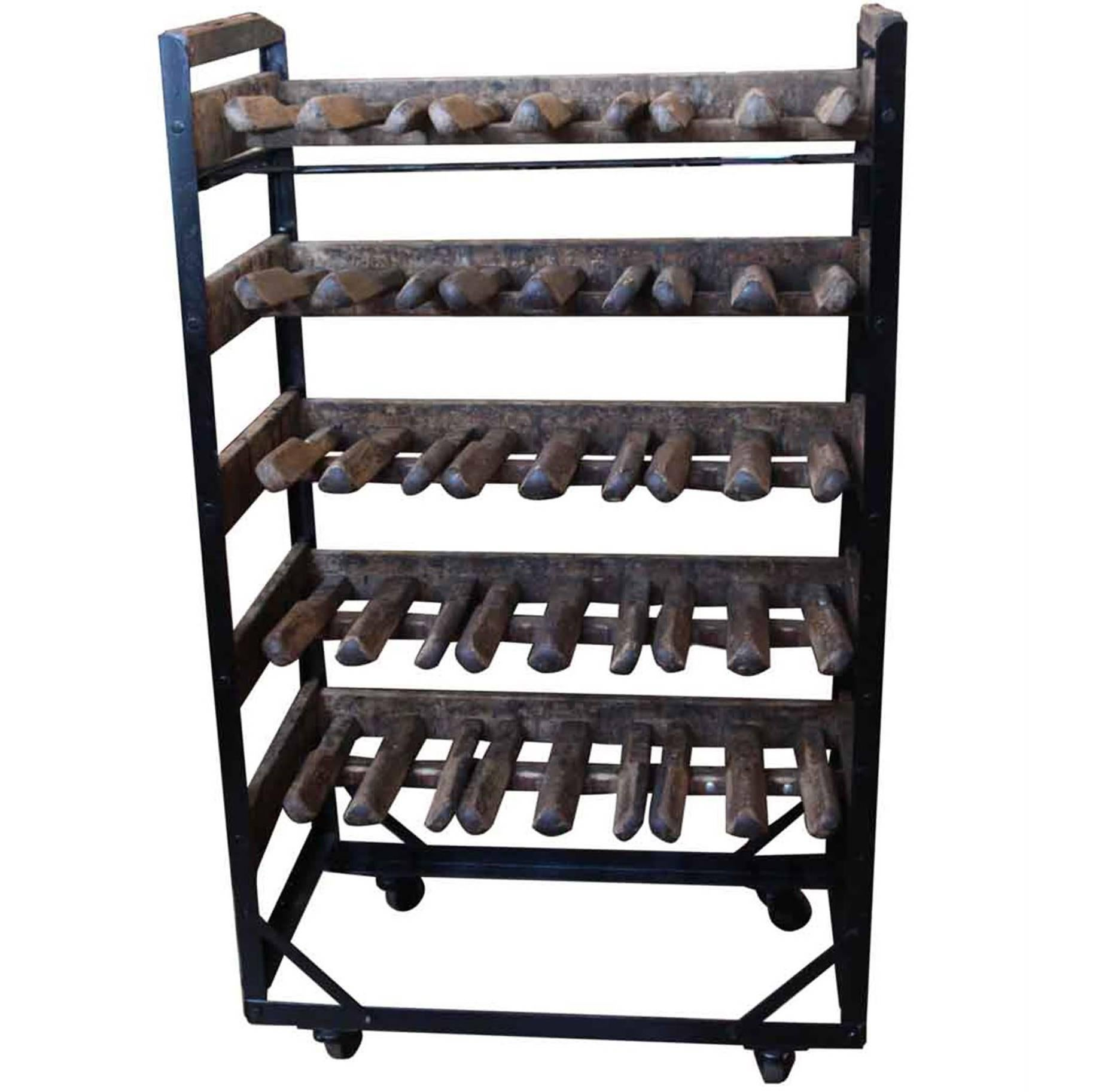 1940s Wooden Shoemakers Or Cobbler Converted Wine Bottle Storage Rack For  Sale