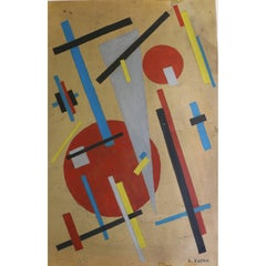Suprematist Watercolor on Cardboard by Nina Ossipovna Kogan, Russia, 1920s