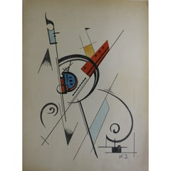 Abstract Watercolor on Paper by Kirill Zdanévitch, Russia, 1920s-1930s