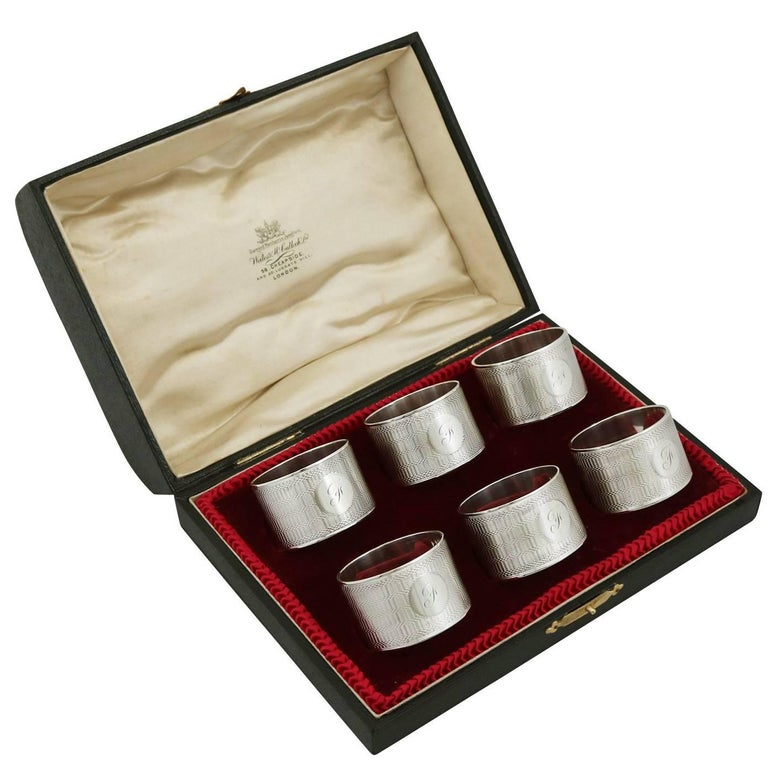 1934 Sterling Silver Napkin Rings Set of Six by Emile Viner