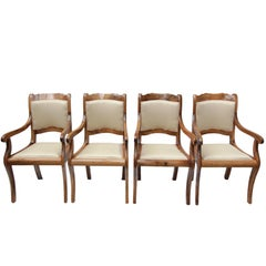 19th Century Biedermeier Set of Four Walnut Armchairs
