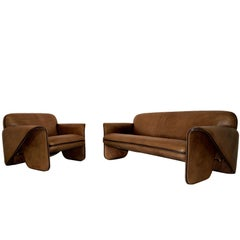 Vintage Swiss De Sede 'DS 125' Sofa and Armchair Designed by Gerd Lange, 1978