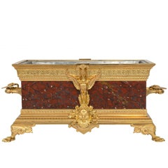 French 19th Century Renaissance St. Rouge Griotte Marble and Ormolu Planter