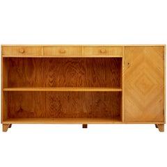 1950s Scandinavian Elm Open Bookcase Cabinet