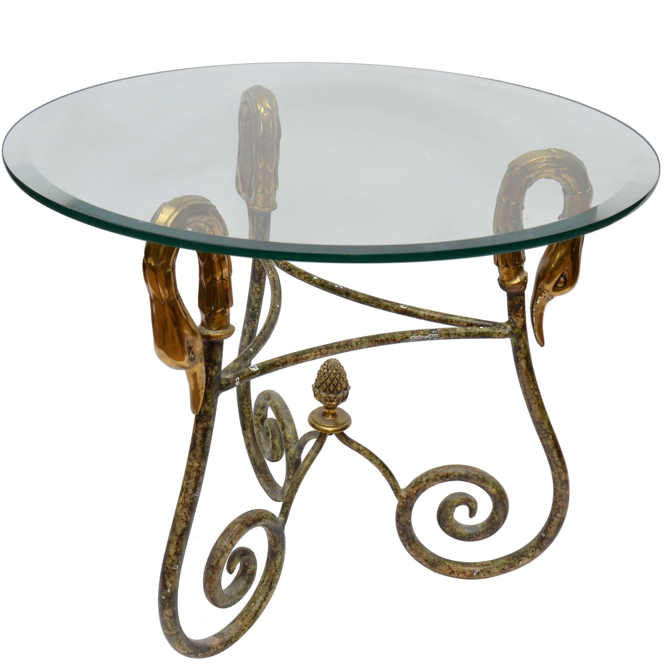 Wrought Iron Side Table From Italy With Brass Swan Heads