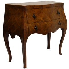 Italian Walnut Bombe Two-Drawer Commode with Brass Pulls