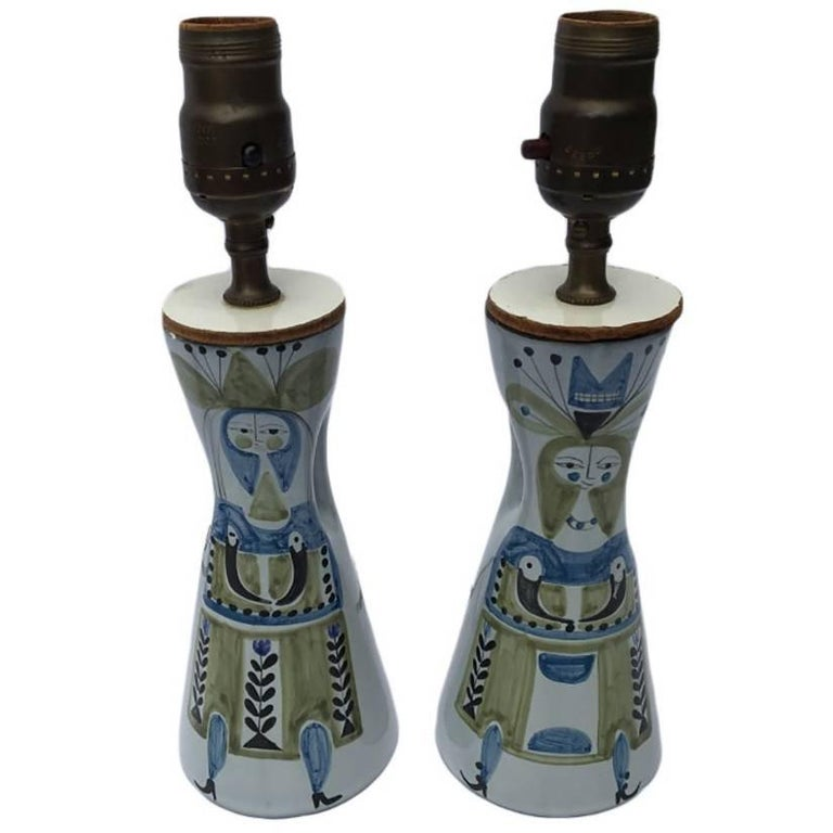 Midcentury Ceramic Table Lamps by French Artist Roger Capron