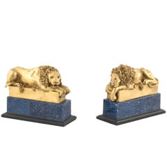 19th Century Pair of Canova Lions in Bronze and Lapis Lazzulo