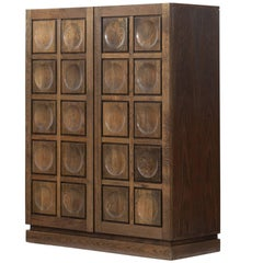 Brutalist Stained Oak Bar Cabinet, 1970s