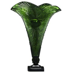 Crystal Fan Vase in Malachite Green