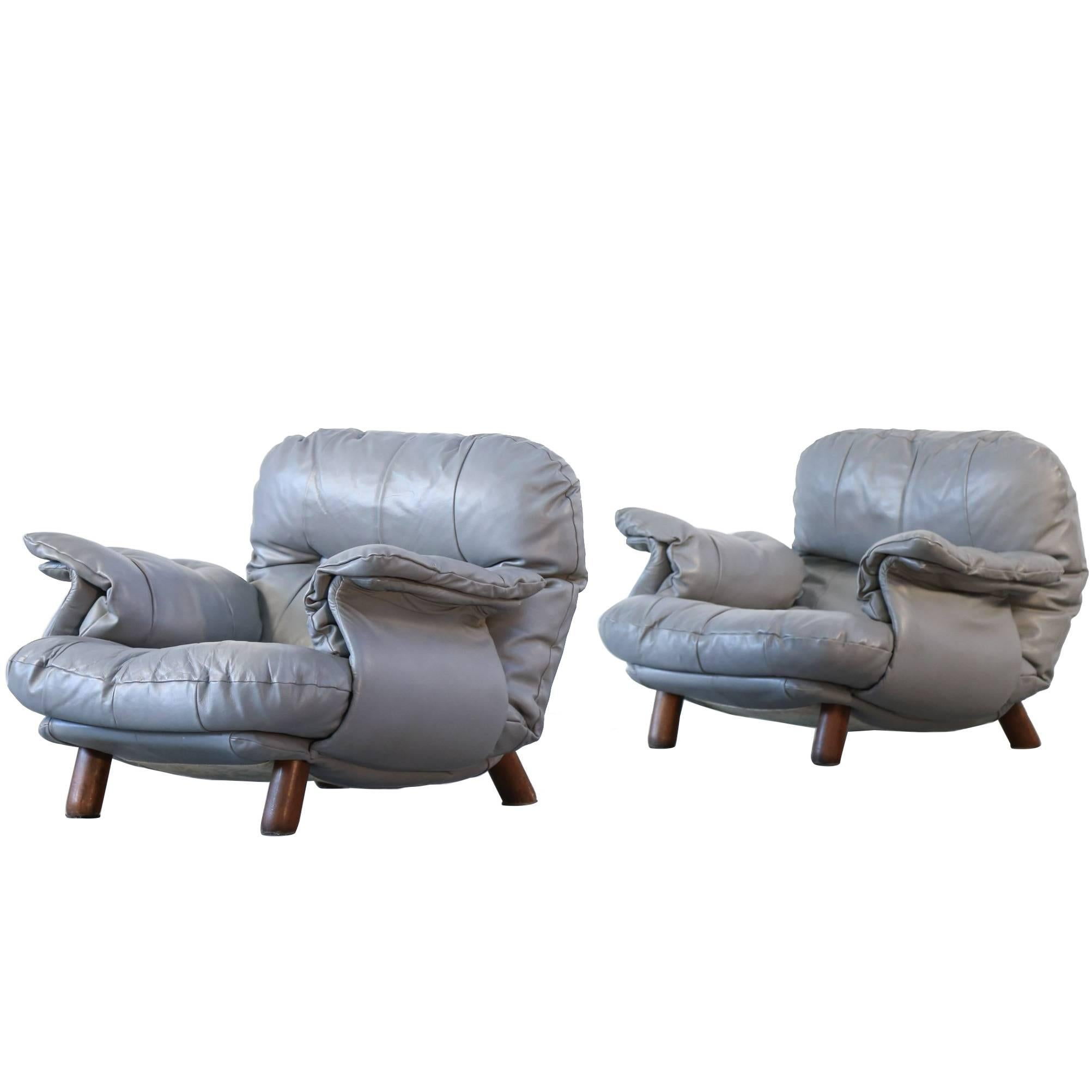 Pair of Lounge Chairs by E. Cobianchi, Italian Design