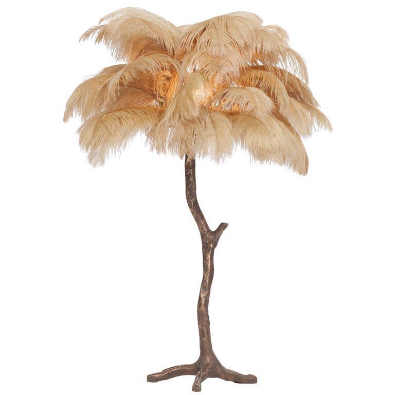 Bronze Tree Feather Lamp At 1stdibs